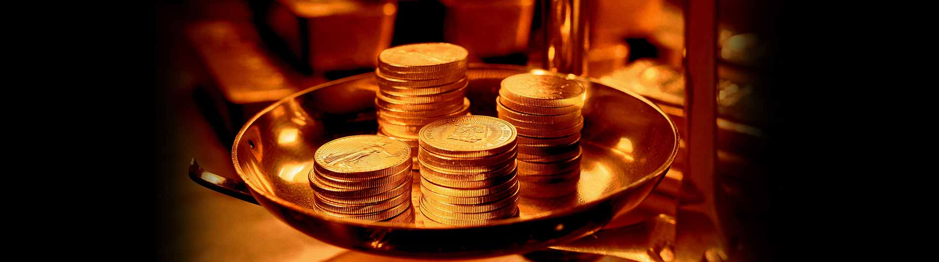 Gold coins in balance